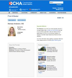 Final challiance.org provider profile layout design displaying provider's image, name and credentials, contact/appointment information, education and practice locations.