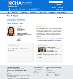 Final challiance.org provider profile layout design displaying provider's image, name and credentials, contact/appointment information, education and practice locations. Use of Google Translate to translate html content on pages.